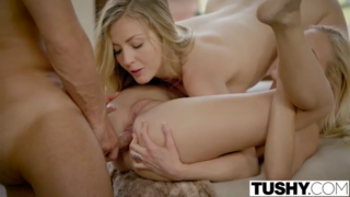 Two adorable blondes and one lucky guy are about to get down and dirty with each other