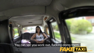 Nasty brunette went into the taxi and gave a nice blowjob to a horny taxi driver