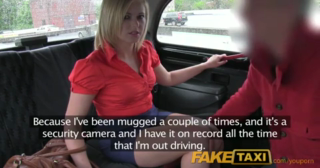 Blonde woman in red, satin shirt is about to have casual sex with a taxi driver