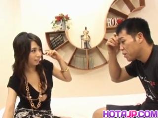 Yuka Osawa gets a big dick to smash her hairy pussy
