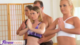 Once girls were done with their yoga class, some of them wanted to fuck their trainer