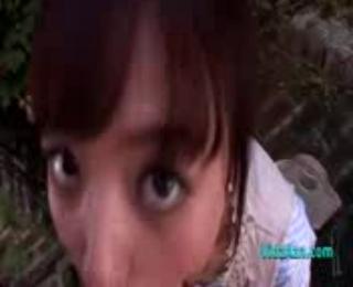 Cute Asian Girl Giving Blowjob On Her Knees Facial Outdoor In The Garden